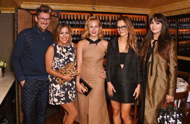 LONDON, ENGLAND - JUNE 16:  (L to R) Henry Holland, Caroline Flack, Charlotte Dellal, Maria Hatzistefanis and Zara Martin attend a dinner hosted by Maria Hatzistefanis to launch the Rodial Design Challenge in association with Central Saint Martins at Balthazar Restaurant on June 16, 2015 in London, England.   Pic Credit: Dave Benett