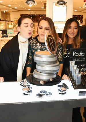 LONDON, ENGLAND - NOVEMBER 26: Erin O'Connor (L) and Rodial founder Maria Hatzistefanis celebrate Rodial 1st year anniversary at Harvey Nichols on November 26, 2015 in London, England. Pic Credit: Dave Benett