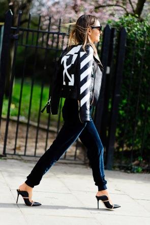 Maria Hatzistefanis street style, off white jacket, ellesse velvet pants, celine sunglases, mr benson, mrs rodial