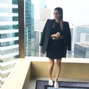 Maria Hatzistefanis - Mrs Rodial - Balenciaga Jacket - Celine Mules - Hong Kong
